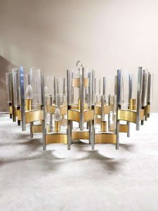 Midcentury modern hurricane chandelier Gaetano Sciolari kroonluchter XL