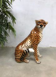 Vintage Italian ceramic cheetah tiger tijger keramiek statue sculpture beeld