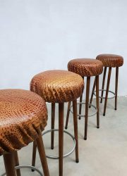 Barstools stools crocodile leather seating barkrukken krukken leren krokodillen vintage retro design