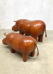 Vintage design leather Hippo ottoman voetenbank by Dimitri Omersa leren nijlpaard art object