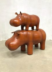 Vintage design leather Hippo ottoman voetenbank by Dimitri Omersa