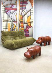 Dimitri Omersa ottoman leather hippo vintage voetenbank nijlpaard leer