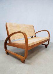 Art deco vintage sofa midcentury modern seating bank halabala style
