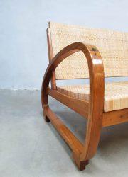 Bank vintage Halabala stijl rattan sofa art deco Halabala style
