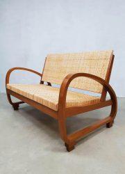 Rattan art deco Halabala style sofa vintage bank riet midcentury modern