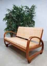 Vintage midcentury modern sofa lounge bank seating Art Deco Halabala style