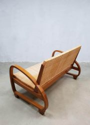 Halabala style sofa rattan art deco midcentury modern vintage riet bank Halabala stijl seating