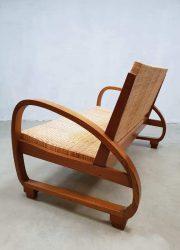 Midcentury modern art deco vintage bank sofa rattan riet style Halabala stijl