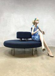 Blue corderoy round sofa seating element zitbank 'infinity circle'