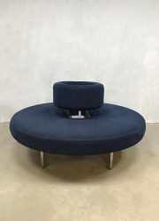 infinity circle sofa ronde bank retro blue corderoy fabric