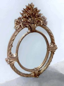 Antique French giltwood mirror Baroque kuif spiegel XL