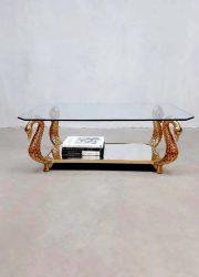 Vintage eclectic Italian brass coffee table Swan zwanen salontafel