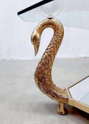 vintage design Italian swan brass gold coffee table salontafel