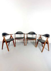 Midcentury vintage Dutch design koehoorn stoelen cowhorn chairs
