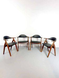 Midcentury vintage Dutch design koehoorn stoelen cowhorn chairs