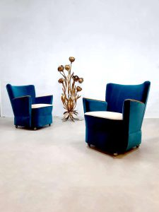Midcentury design armchairs cocktail club fauteuils 'ocean blue'
