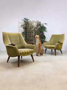 Vintage Danish design armchairs lounge fauteuils teddy green Vintage Dutch design easy chair arm chairs lounge fauteuils