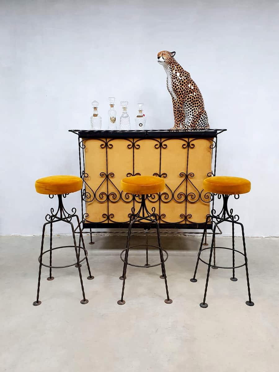 Vintage French Cocktail Bar Amp Barstools Luxury Velvet