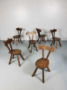 Vintage brutalist sculptured oak chairs stoelen Alexandre Noll style