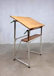 jaren 60 tekentafel industrieel bureau Industrial vintage drawing table school desk sixties