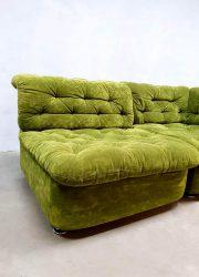 midcentury design sofa green velvet modular seating group lounge bank