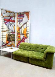 vintage design velvet green sofa modular sofa bank seating group