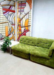 vintage design modular sofa seating group sofa bank green