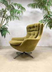 Vintage retro egg chair swivel wingback chair draaifauteuil kiwi green