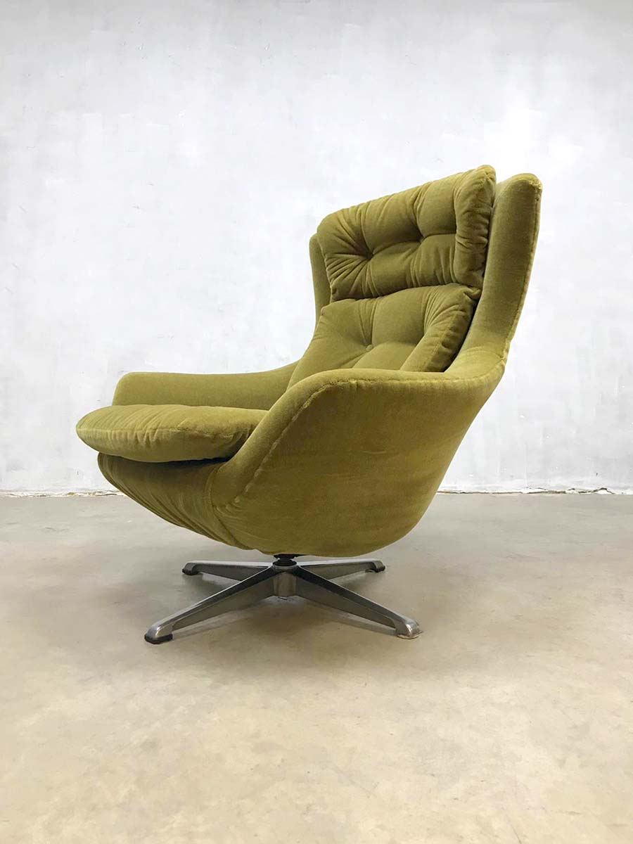 Draai Fauteuil Retro.Vintage Retro Egg Chair Swivel Wingback Chair Draaifauteuil
