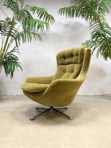 Vintage retro egg chair swivel wingback chair draaifauteuil kiwi green