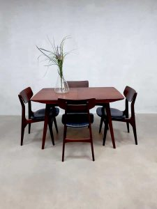 Vintage eetkamertafel stoelen dining table dinner chairs Webe Louis van Teeffelen