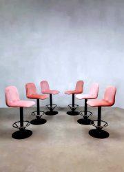 Pink velvet barstools industrial vintage barkrukken industrieel
