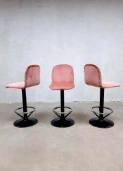 Vintage barstool barstools barkrukken barkruk industrieel industrial roze pink velvet