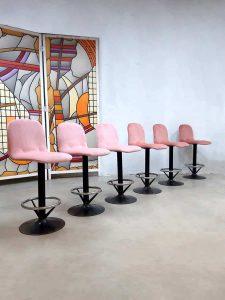 Vintage industrial barstools industriele barkrukken pink velvet