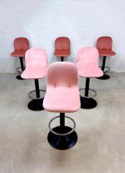 Barstools barkrukken pink velvet roze industrial industriele vintage