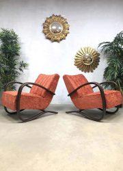 midcentury design Halabala armchairs lounge fauteuil UP Závody Brno