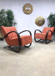 Art deco armchair lounge chair vintage fauteuil Jindrich Halabala bentwood