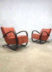 midcentury design armchair Jindrich Halabala bentwood easy chair