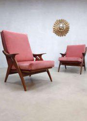 midcentury design armchair easy chair fauteuil pink velvet De Ster Gelderland