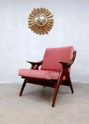 vintage Dutch design armchair Gelderland easy chair fauteuil pink velvet