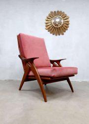 midcentury armchair Gelderland easy chair pink velvet lounge fauteuil