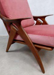 midcentury design pink velvet De ster Gelderland fauteuil lounge fauteuil easy chair