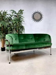 Vintage design chromen velvet sofa loveseat bank 'Minimalism'