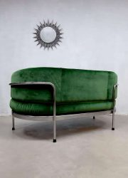 midcentury modern design vevet sofa love seat Italy sixties seventies design