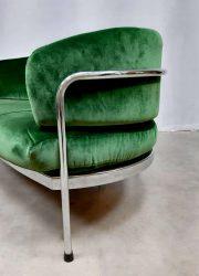 vintage design green velvet sofa loft lounge bank industrieel design