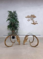 Midcentury design brass Ibex / Rams head coffee table salontafel