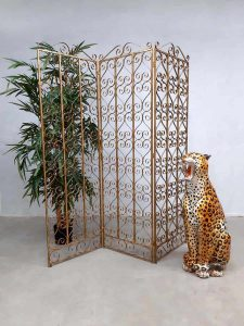 Antique brass room divider paravan folding screen kamerscherm