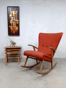 Midcentury Swedish design wingback rocking chair schommelstoel