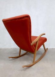 vintage wingback chair rocking chair schommelstoel