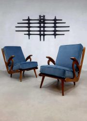 Midcentury Dutch design armchairs lounge fauteuils blue velvet